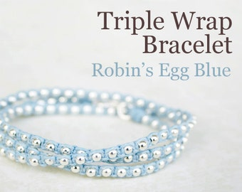 Beaded Friendship Wrap Bracelet - Robin's Egg Blue Waxed Irish Linen with Sterling Silver Beads and Thai Hook Clasp