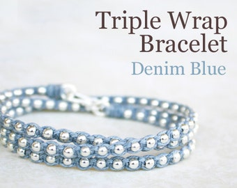 Beaded Wrap Bracelet - Denim Blue Waxed Irish Linen with Sterling Silver Beads and Thai Silver Hook Clasp