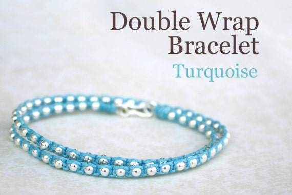 Turquoise Blue Waxed Irish Linen Wrap Bracelet with Sterling Silver Beads and Thai Silver Hook Clasp