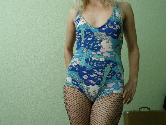 Vintage 70's bathing suit. One piece blue pin up style swimsuit size ExtraSmall, A cup. From Socialist Republic of Yugoslavia