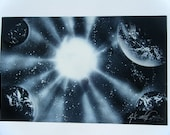 Sold-Request a Remake / Spray Paint Art / Space Scene / Planet Scene / Poster / Black and White / Original Painting
