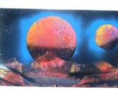Spray Paint Art / Space Scene / Planet Scene / Poster / Red / Yellow / Purple / 14x22