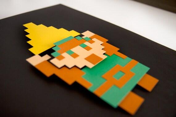 Legend of Zelda Link paper 8 bit art - 8.5x11 hand cut 3D papercraft video game decor in shadowbox