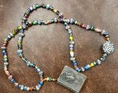 Antique Art Deco Religious Rosary Box Necklace - vibrant beads