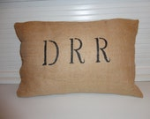 12x16 Initial Burlap Pillow Cover   custom order for anne