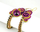 Disco III - soutache earrings/Swarovski