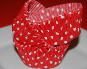 50 count - red polka dot cup cake liners, baking cups, muffin cups, standard size, grease proof