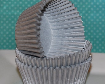 cupcake liners (50) count - Silver Grey solid cup cake liners, baking cups, muffin cups, standard size, grease proof