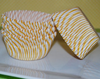 50 count - yellow stripe cup cake liners, baking cups, muffin cups, cupcake standard size, grease proof