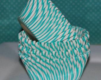 50 count -Aqua green stripe cup cake liners, baking cups, muffin cups, cupcake