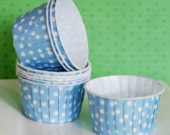 Baking Cups - Light Blue Polka Dot Candy Cups Nut cups cupcake liners or muffin cups  Ice cream cup dessert cups portion cups - (48) count