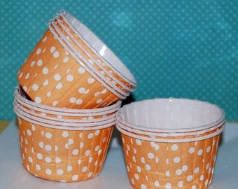Orange Polka Dot Candy Cups  Nut cups  Baking cupcake liners or muffin cups  Icecream cup dessert cups portion cup - (24) count