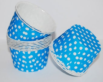 cupcake cups  Bright Blue polka dot Candy Cups  Nut cups  Baking cups cupcake liners  muffin cups Icecream cup  dessert cups - (24) count