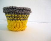 Hand Knit Plant Pot Cozy, Mini Cute Sunshine Yellow and Grey Striped Cover
