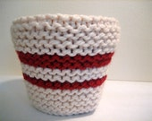 Crimson and Off White Plant Pot Cozy, Striped Dark Red Houseplant Cover