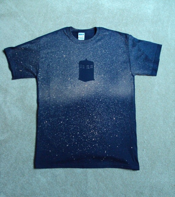 Doctor Who TARDIS Bleached Homemade Galaxy Tshirt Free Shipping (In the US)