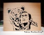 "Scroll Saw Fretwork Portrait - ""Bear is my Brother"""