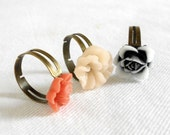 Shabby Chic Flower Rings Set of 3 - Coral, Linen & Black - Vintage Inspired Adjustable Cocktail Rings - Rustic Boho Chic