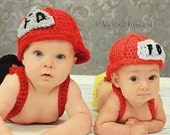 Newborn Hat - Fireman Hat and Diaper Cover with Suspenders and Boots