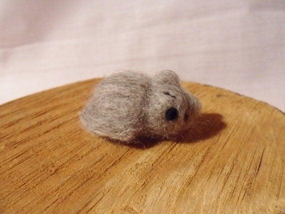 Needle Felted Cat -  miniature sleeping cat figure - 100% corriedale wool