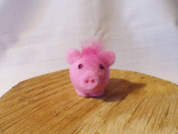 Needle Felted Pig -  miniature tufted pig figure - 100% merino wool - Pig With Attitude