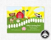 FARM INVITATION. Birthday or Baby Shower. Printable. StudioLoInvites