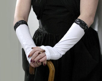 Victorian  white and  black lace  fingerless  gloves arm warmers - White Gloves Wedding Gothic Steampunk   Bridal   Classic Retro
