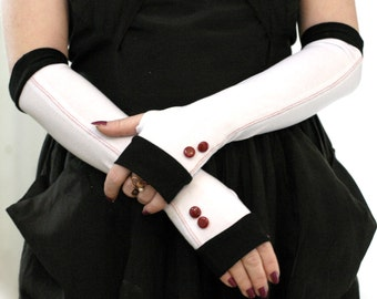 Elegant white wiht black edges and shiny cherry vintage buttons  fingerless gloves  - Wedding Gothic Steampunk  Alice  Chic Classic Red