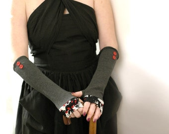 Abstract  red and grey  fingerless  gloves with vintage buttons  -arm warmers Cotton Yoga Gothic Chic modern abstract  Cycling  Sport dark