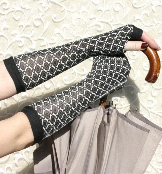 Black Polka Dots Arm Warmers Fingerless gloves - 60s 70s vintage retro style Yoga sport classic stretch christmas gift handschuhe stulpen