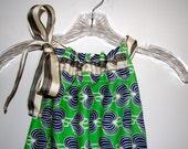 Stylish Blue, Green Dress in Fantastic Modern Print