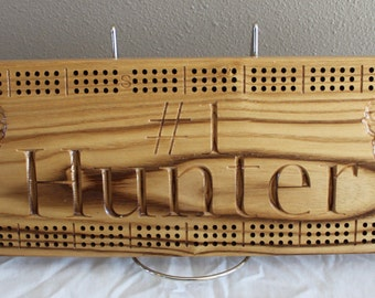 Deer Hunter cribbage board made from Black Ash