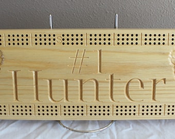 Deer Hunter cribbage board made from White Ash