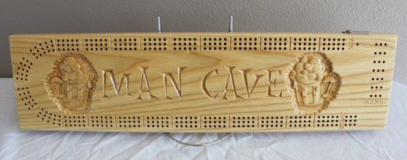 Man Cave cribbage board with 3d carved beer mugs made from White Ash