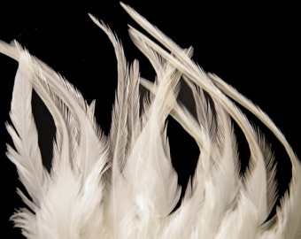 Craft Feathers- White Craft Feathers - Natural White - Wedding Feathers - 5 to 7 inches long 12 white craft feathers