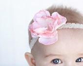 Boutique Baby Girl Headbands - Newborn Headband - Pink n Cream Flower - Vintage Headband - Baby Headband