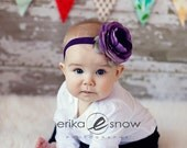 Baby Girl Headbands - Baby Headbands - Lilac Ruffle Flower Headband - Newborn Headbands - Baby Bow Headband