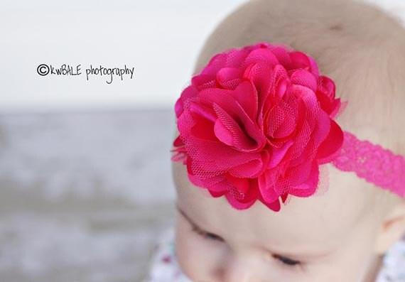 Baby Girl Headband - Newborn Headband - Pink Flower Headband - Baby Bow Headband - Infant headband - Baby Headbands