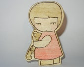 Emma and Bear Wooden Doll