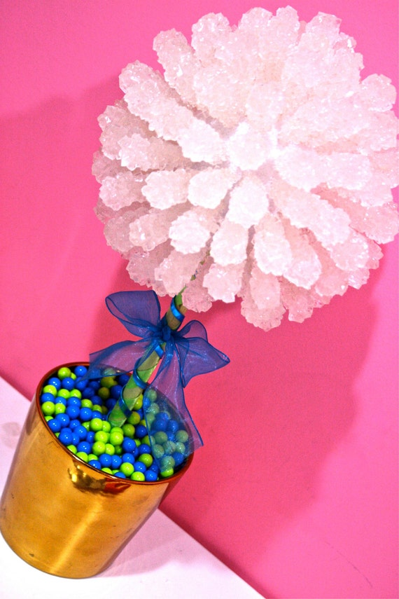 Blue green rock candy centerpiece topiary by