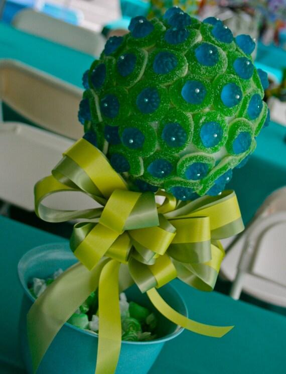 Blue green razberry gummy bear candy land centerpiece topiary