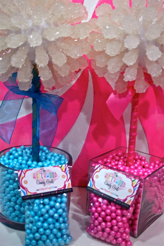 Pink Baby Girl Shower Rock Candy Centerpiece Topiary Tree, Candy Buffet Decor, Candy Arrangement Wedding, Mitzvah, Party Favor, Edible Art