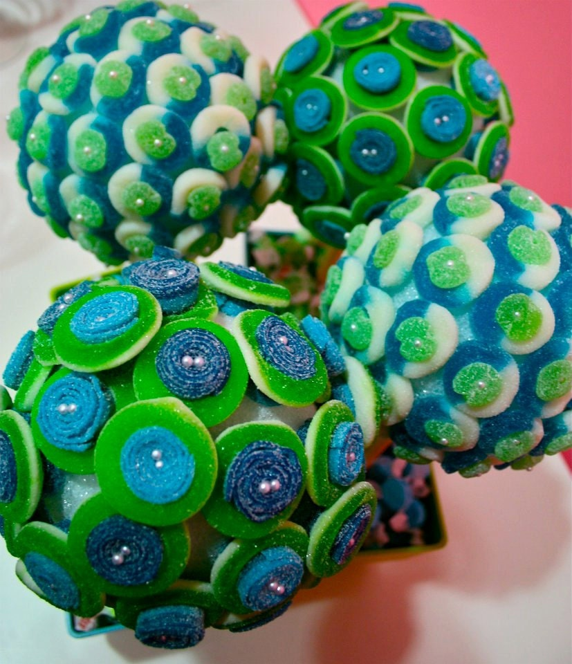 Blue green candy land centerpiece topiary tree buffet