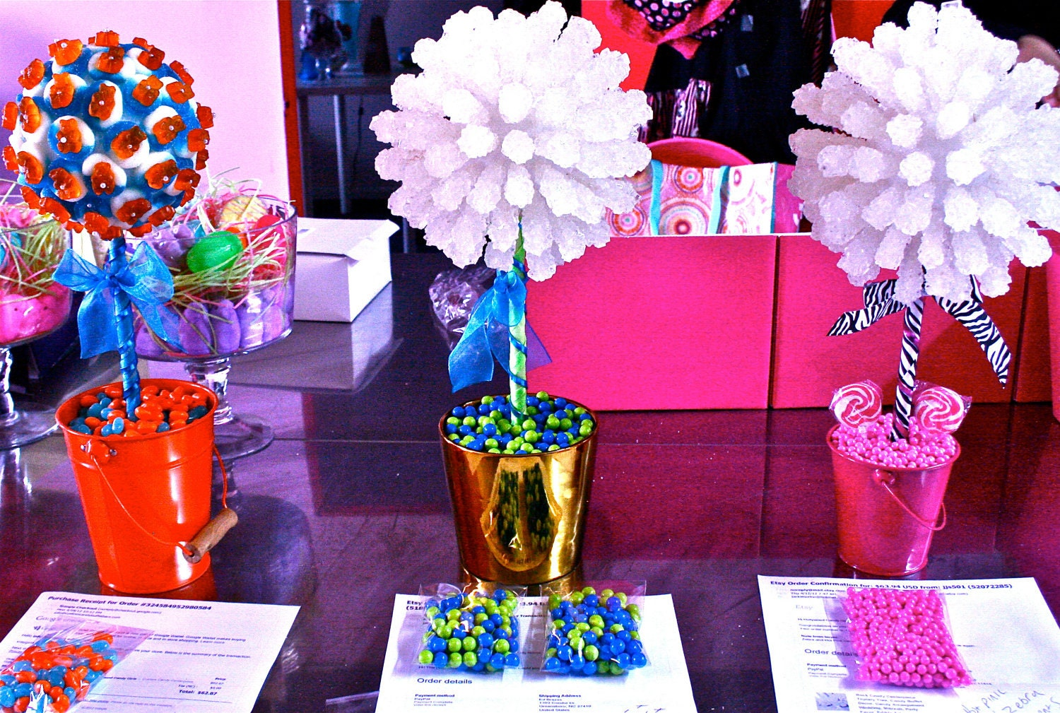 Hot Pink Amp Zebra Rock Candy Centerpiece Topiary Tree Candy