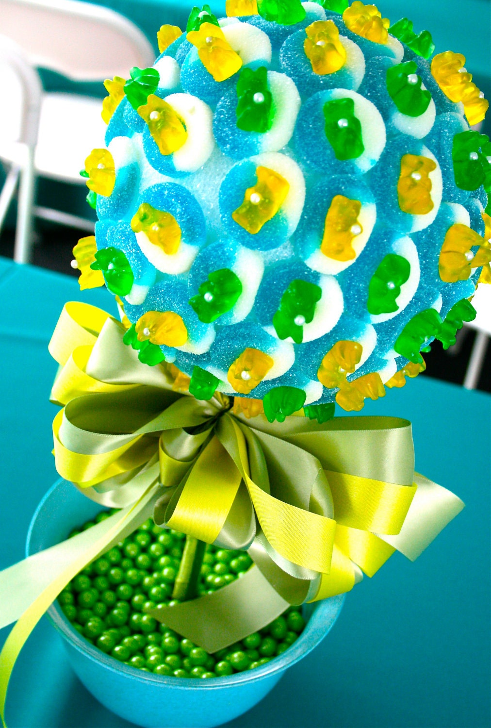 Blue Green Yellow Candy Land Centerpiece Topiary Tree Candy