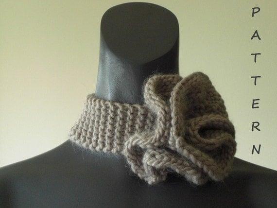 Knitting Pattern Scarf Collar : Knitting Pattern Flower Collar Scarf Free Knitting by vivartshop