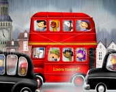 "Children illustration art print  red double decker bus in London city  5.8"" x 8.3"" A5"