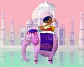"Children illustration art print pink indian elephant 5.8"" x 8.3"" A5"
