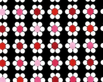 Dancing Dot Daisies Licorice- Remix by Ann Kelle for Robert Kaufman, 1  Yard Cut