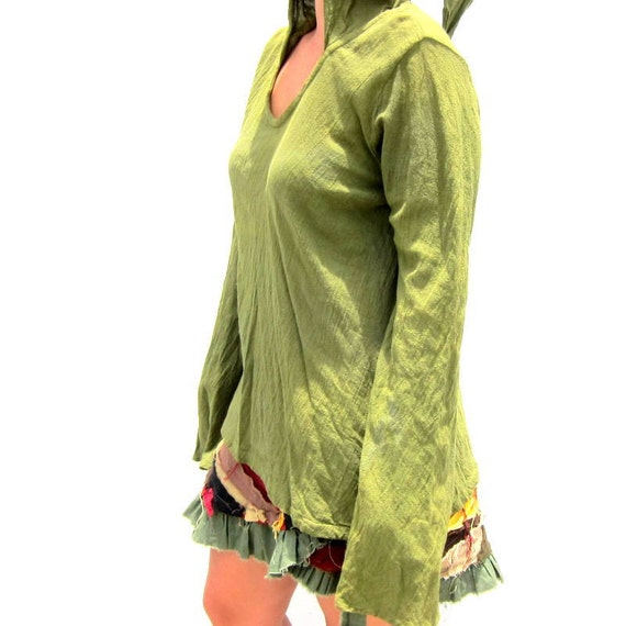 Forest green long sleeve pixie top with hood